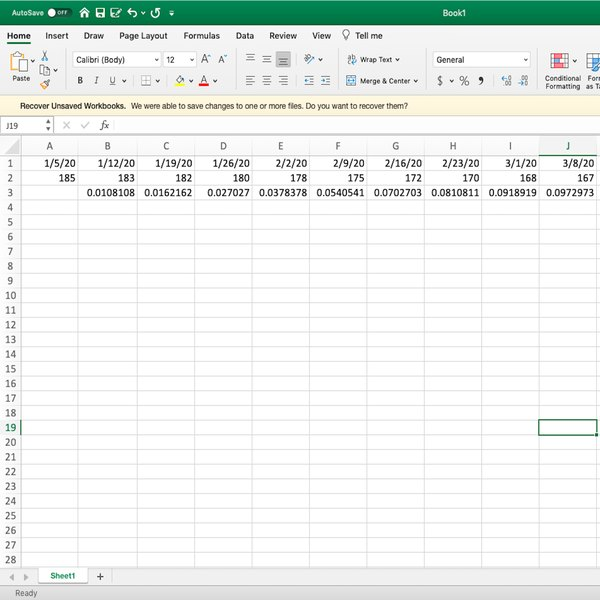 Weight loss calculation as decimals in Excel.