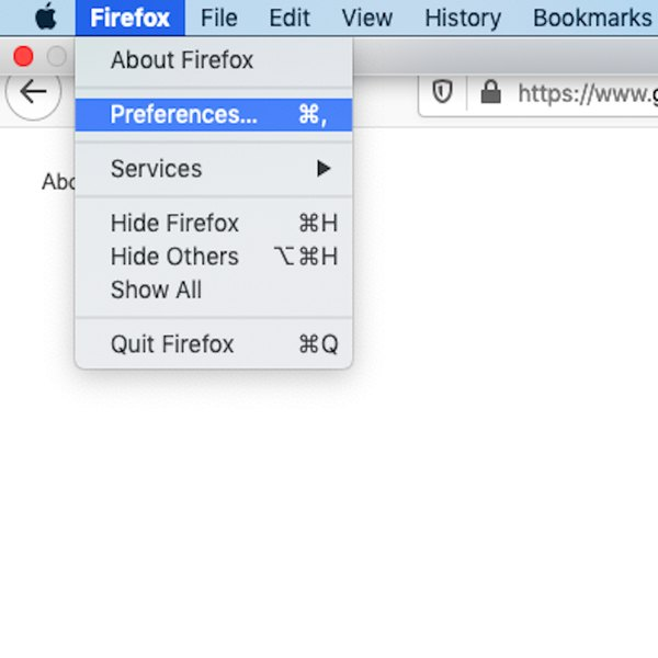 Selecting Preferences in Firefox.