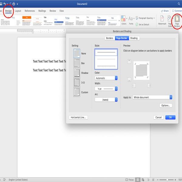 Navigating to Page Borders from the Design tab in Word.