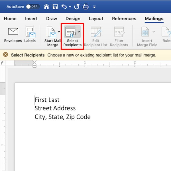Selecting mail recipients in Word.