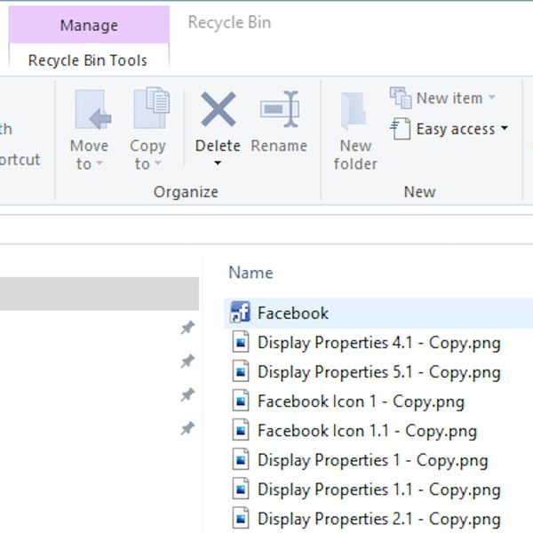 Selecting deleted icon from Recycle Bin.