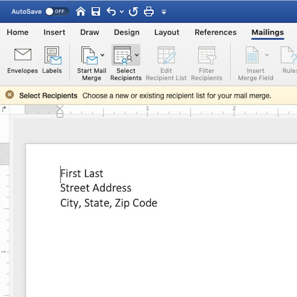 Return address on envelope template in Word.
