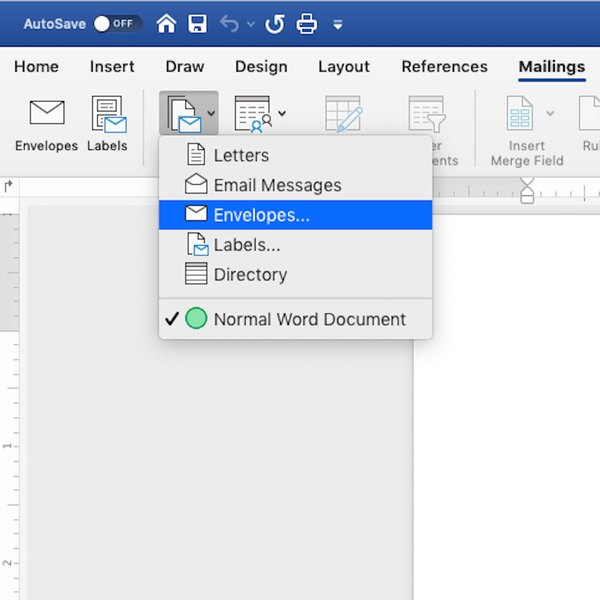 Clicking Envelopes option from Mail & Merge option in MS Word.