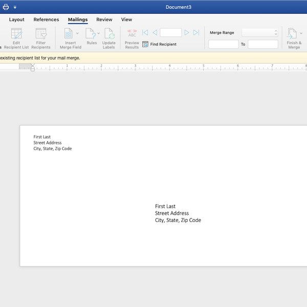 Envelope template in Word.