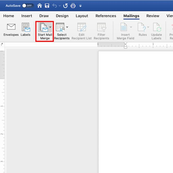 Start Mail Merge icon in MS Word.