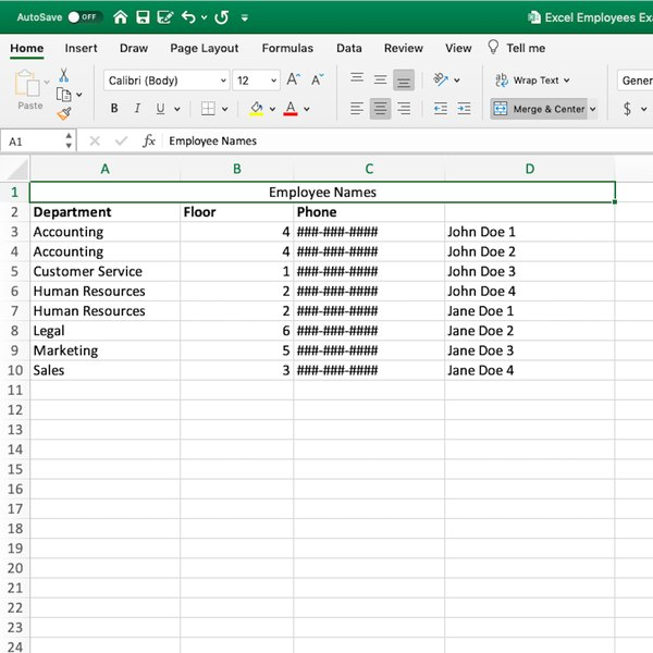 Final results of Merge & Center feature in Excel.