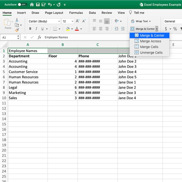 Merge & Center options in Excel.