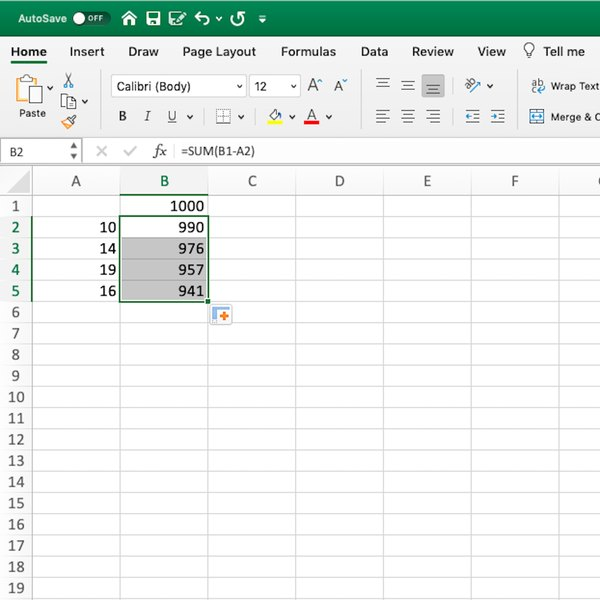 Running total by subtraction in Excel.
