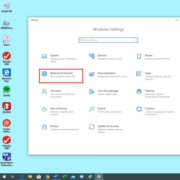 Network and Internet settings in Windows.