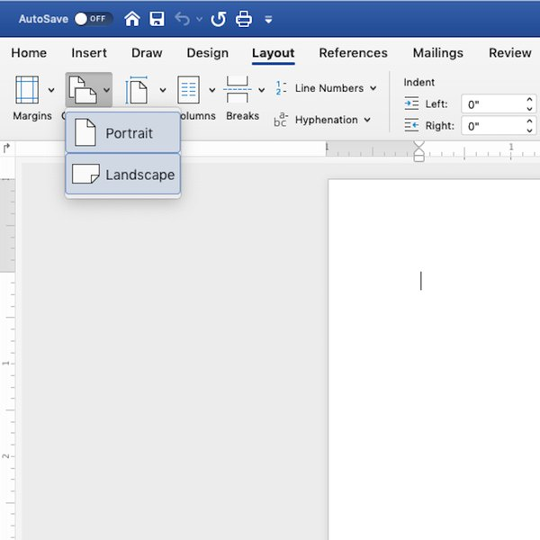 Setting Word document to Landscape format.