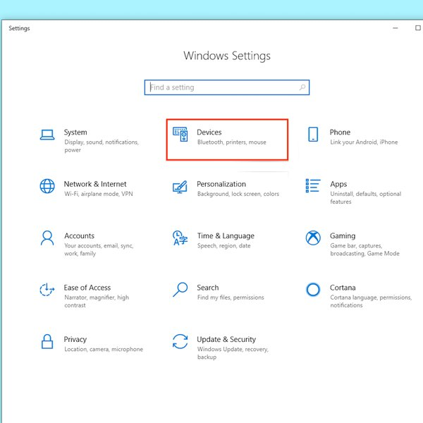 Devices settings in Windows.