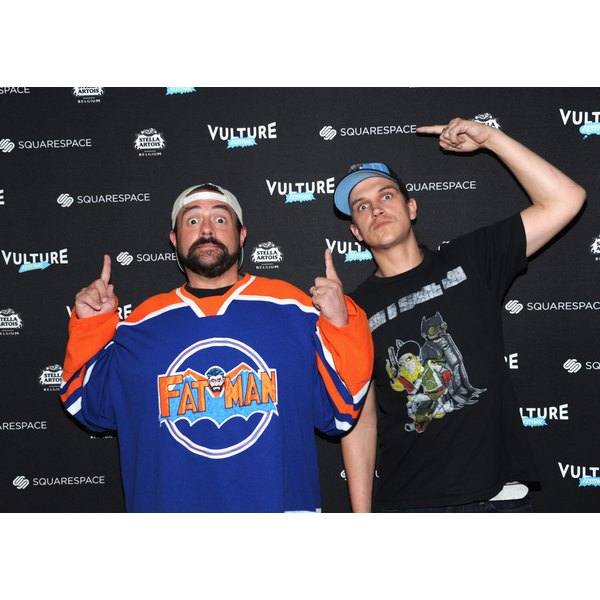 Who you calling Fat Man? Kevin Smith (left) poses alongside Jason Mewes in 2017.