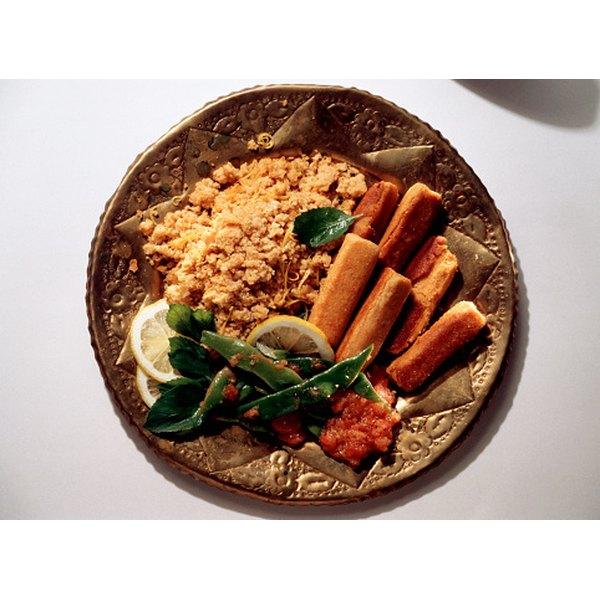 Feta rolls with bulgur pilaf make a popular dish.