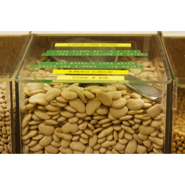 A container of dried lima beans may hold an oxygen absorber to aid in preservation.