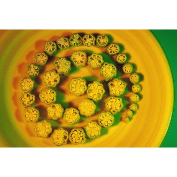 Sliced okra pods look like flowers in bloom.