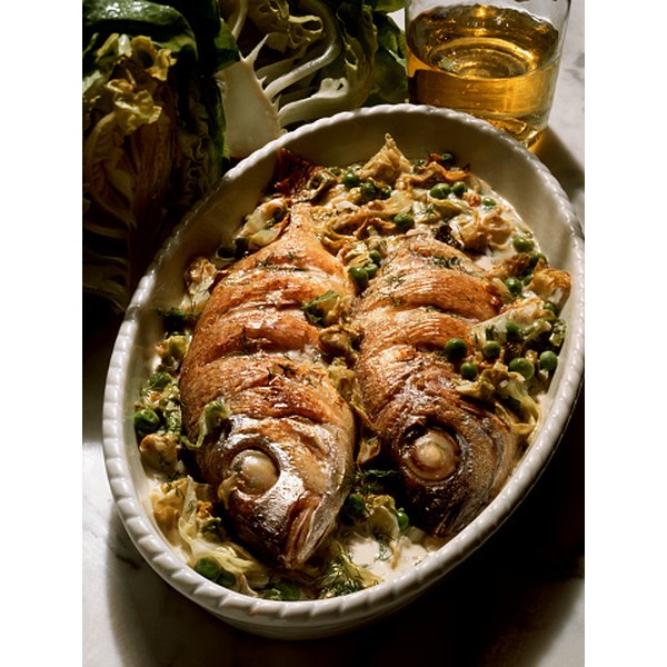 Sea bream can be cooked whole or in fillets.