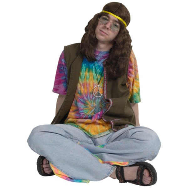 Tie-dyed shirts and sandals were part of the hippie fashion movement.