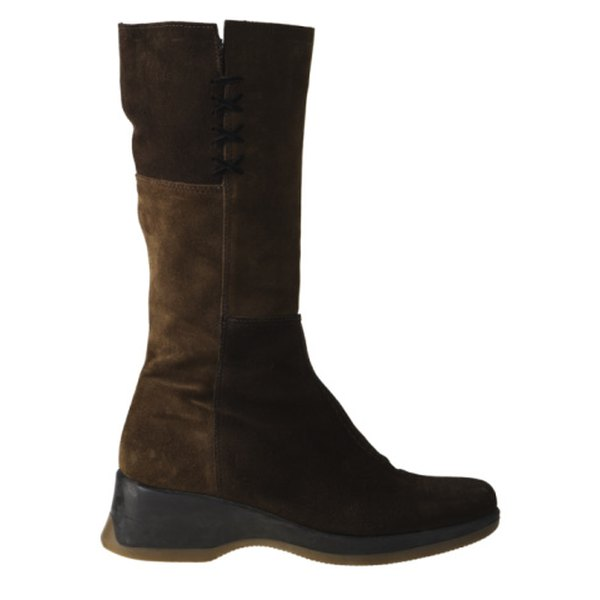 Suede is also used for boots in the winter.
