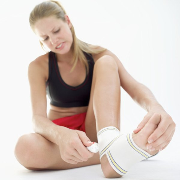 Wrap your ankle with an elastic bandage to help ease soreness.