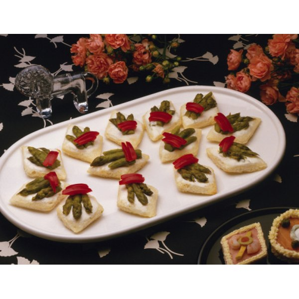 Light finger foods for parties can look beautiful and taste great.