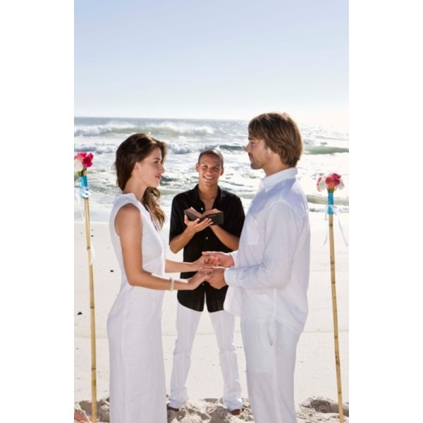 "The person who weds the bride and groom is also known as an ""officiant."""