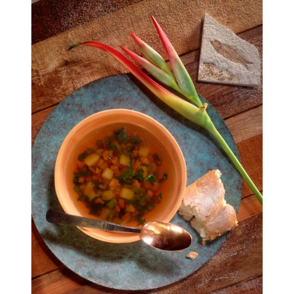 Hearty vegetable soup is a satisfying lunch.