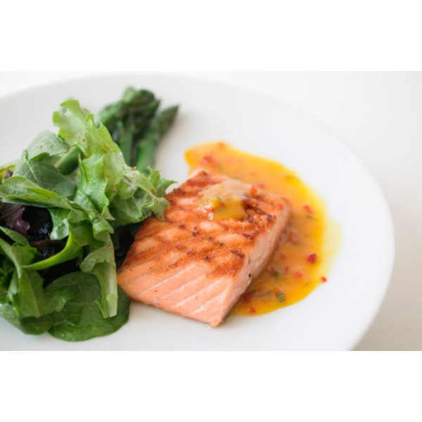 Pan grilling salmon steaks adds flavor without fat.