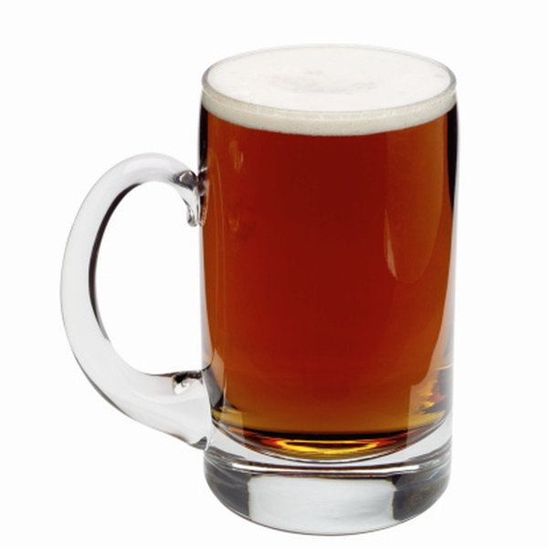 Design a creative table centerpiece using a beer mug.
