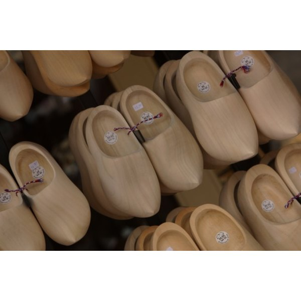 Dansko clogs are slip-on shoes similar to these traditional Dutch clogs.
