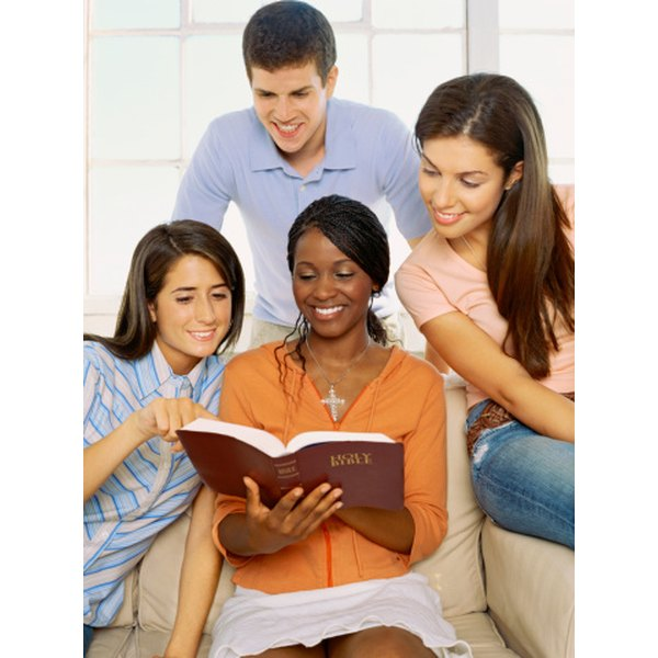 Church youth groups provide a peer community in which teens can study Scripture.
