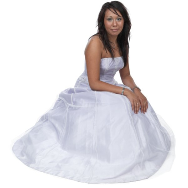 Strapless ball gowns are a popular choice.