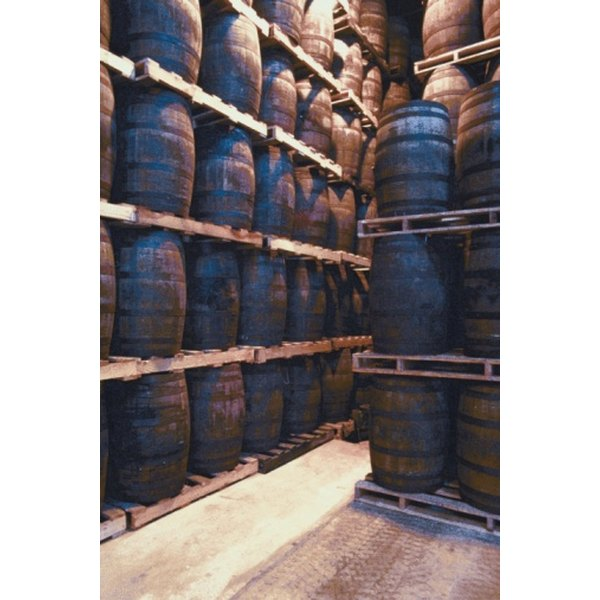 Fine whiskey is aged in barrels, or casks, made of wood.