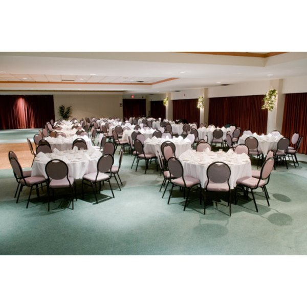 A typical banquet uses round tables.