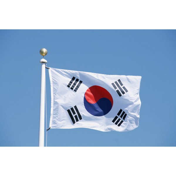 The Korean flag embodies four of the cardinal colors.