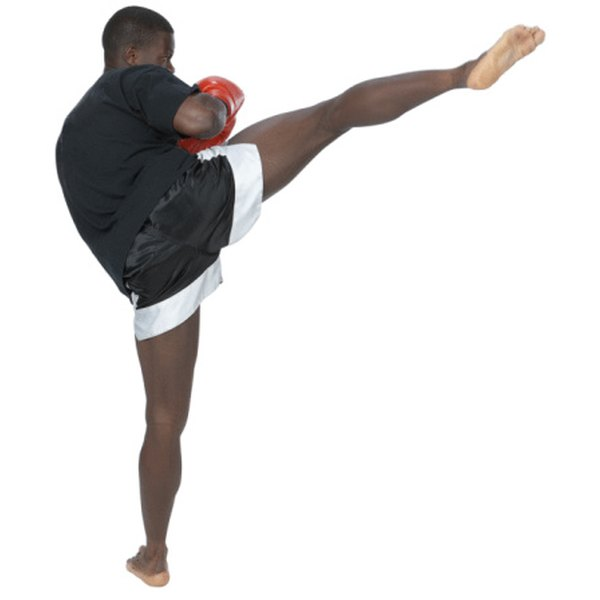 A kickboxing workout combines kicking, punching and athletic drills.