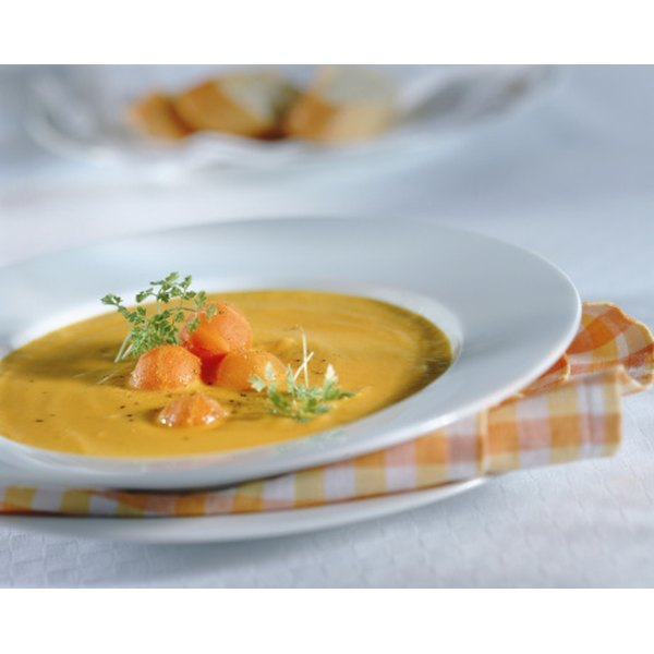 Create attractive soup presentations with interesting garnishes.