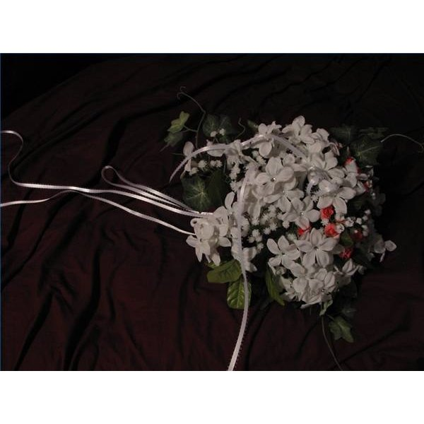 How to make a wedding bouquet with silk flowers our everyday life round silk stephanotis and rose bouquet mightylinksfo