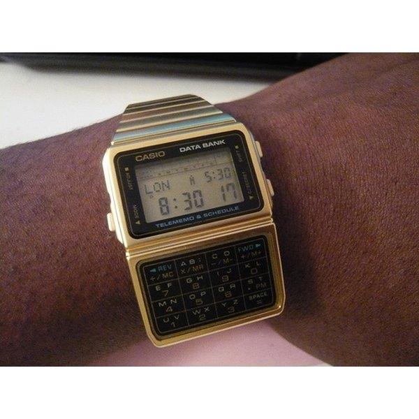 A Casio Data Bank digital wristwatch.
