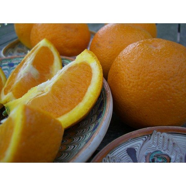 Quartered oranges hold Jell-O for an easily eaten treat.