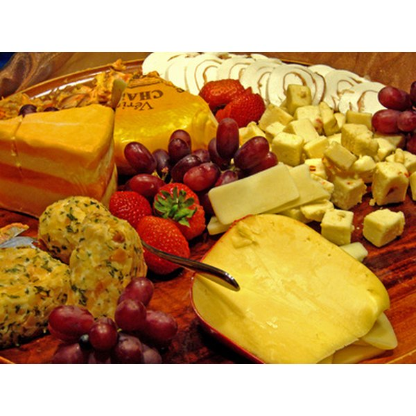 Cheese and fruit often occupy the same platter.