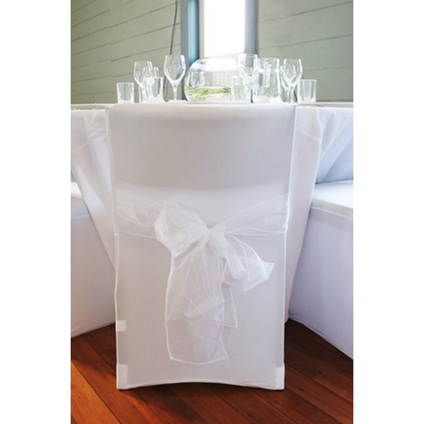 Wedding chair covers add style and personality to the wedding reception.