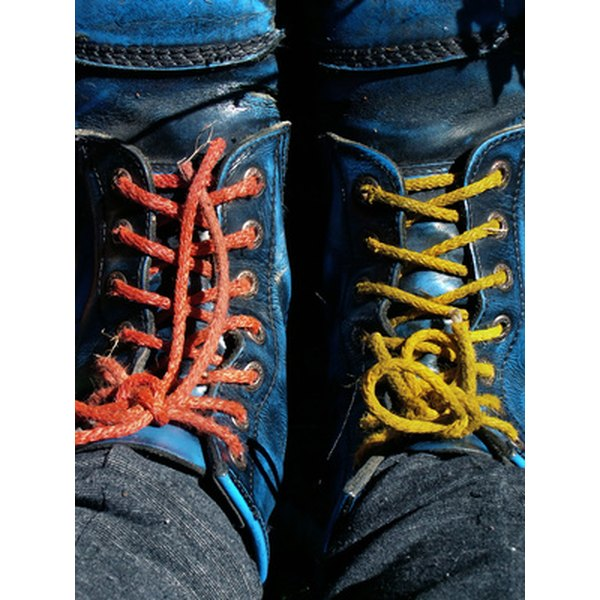 Boots with colored laces.