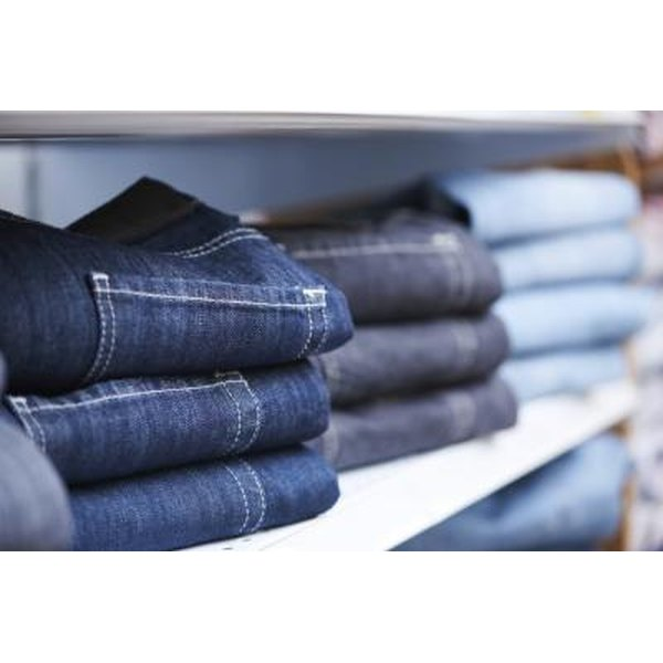 Jeans on shelf in store