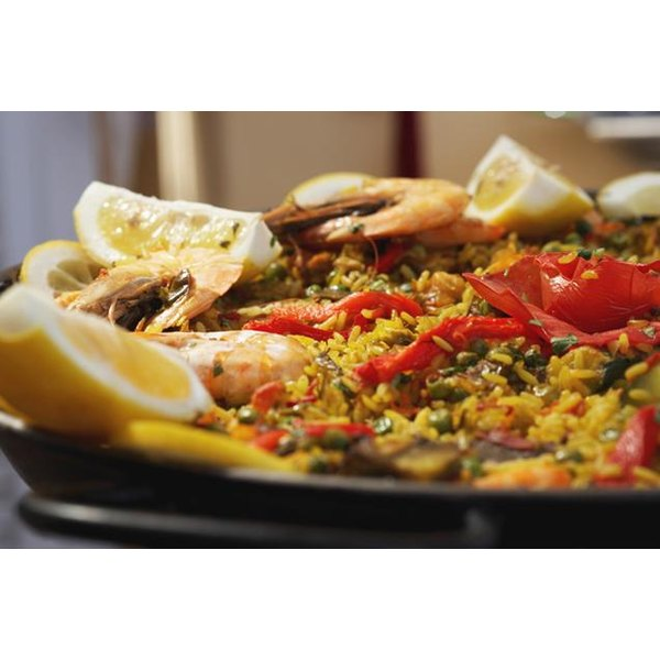 Seafood paella looks decadent, but is stuffed with lean, natural protein.