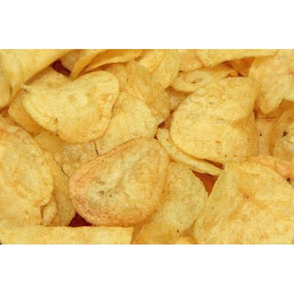 A serving of potato chips can contain 150 calories and up to 3 g of saturated fat.