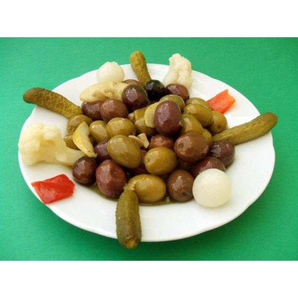 Foods such as pickles and olives are high in sodium.