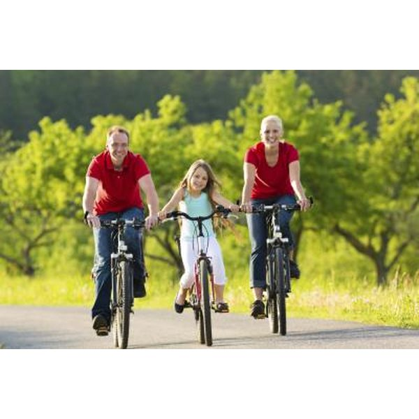Family on a bike ride.