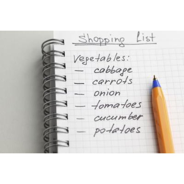 Shopping list with pen.