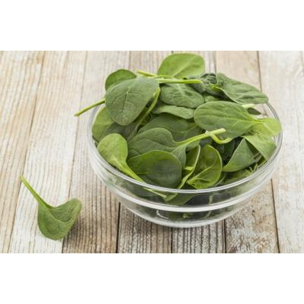 Bowl of baby spinach on table.