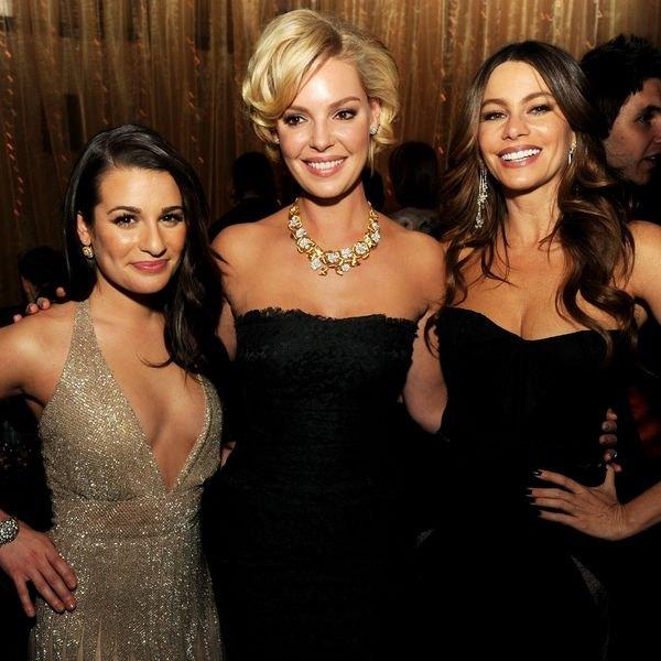 "Lea Michelle, Katherine Heigl e Sofia Vergara na estreia de ""New Year's Eve."""